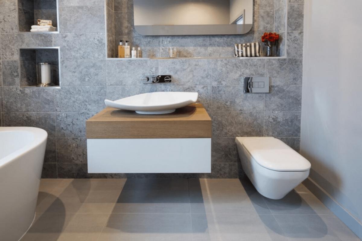 Very Modern Bathroom With Floating Sink